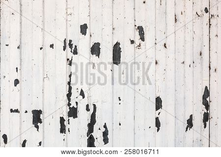 Old Mettalic Wall Covered With Peeling Paint, Texture Grunge Background