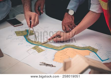 Project Management Team Of Engineers And Architects Planing For New Project., Business Construction