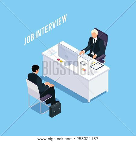 Isometric Concept Of Job Interview. Hiring Process. 3d Manager Workplace. Vector Illustration.