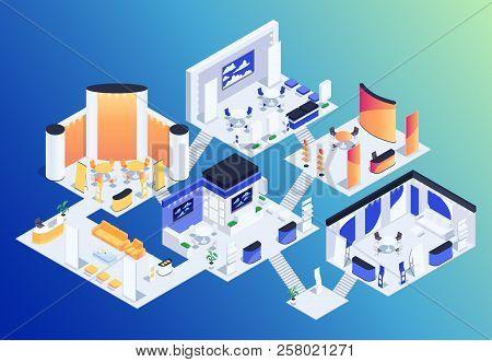 Isometric Exhibition Hall. 3d Promotional Stands. Exposition Booth. Blank Mockup. Vector Illustratio
