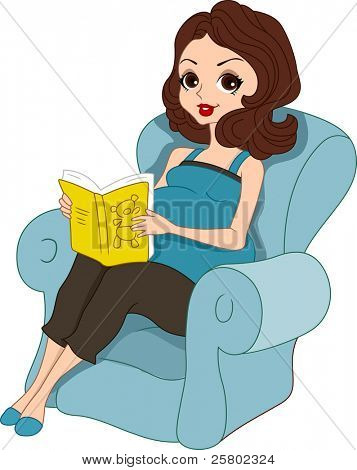 Illustration of a Pregnant Pinup Girl Reading a Baby Book