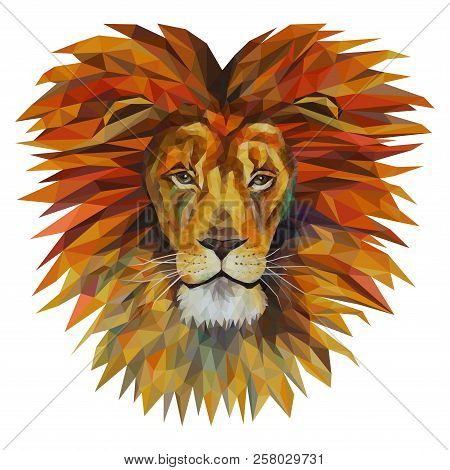 The Head Of A Lion With A Big Mane, Mosaic. Trendy Style Geometric On White Background. Colorful Vec