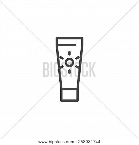 Suntan Cream Outline Icon. Linear Style Sign For Mobile Concept And Web Design. Sunscreen Simple Lin