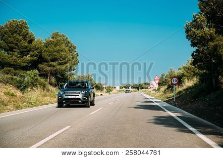 Viladamat, Spain - May 17, 2018: Land Rover Discovery Sport Car Driving In Country Road. Land Rover