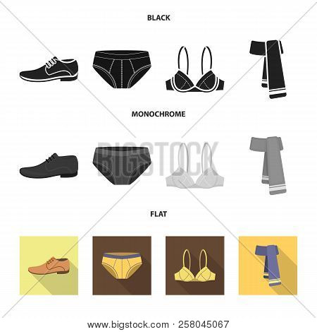 Male Shoes, Bra, Panties, Scarf, Leather. Clothing Set Collection Icons In Black, Flat, Monochrome S