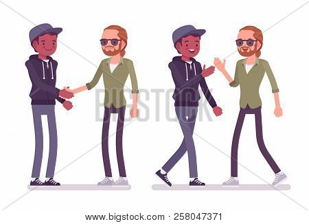 Male friends greeting vector photo free trial bigstock male friends greeting men black and red haired handshake high five m4hsunfo