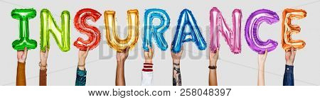 Hands showing insurance balloons word