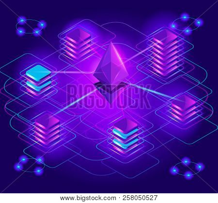 Crypto-currency Isometry, Bright Holographic Lighting Effects, Blockage Stack, Ethereum Platform, Ex