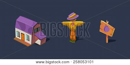 Small farm house and scarecrow, mobile game user interface GUI element for video computer games vector Illustration poster