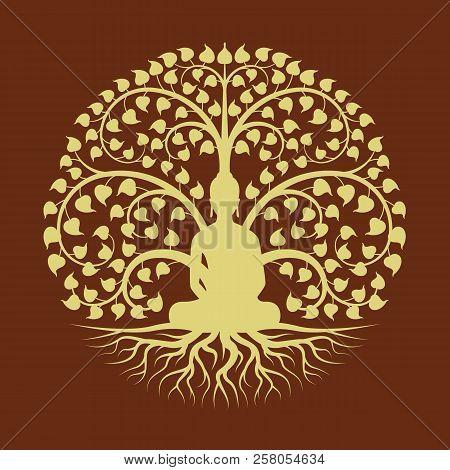 Gold Buddha Meditate Under Bodhi Tree Circle Sign Style Vector Design