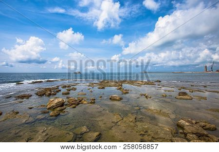 Clear Water And Rocks Near The Beach/ Water/ Sea/ Clear/ Blue/ Livorno/ Tuscany/ Italy/ Europe