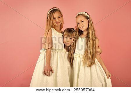 Little Girls In Fashionable Dress, Prom. Children Girls In Dress, Family, Sisters. Friendship, Look,