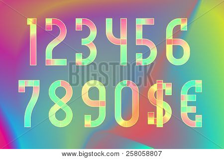 Colorful Ethereal Translucent Numbers With Dollar And Euro Symbols On Iridescent Background.