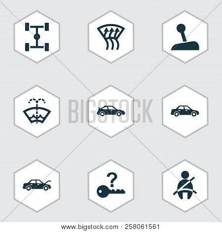 Automobile Icons Set With Auto Hood, Chassis, Not Key And Other Crossover Elements. Isolated Vector