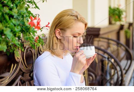 Woman Have Drink Cafe Terrace Outdoors. Mug Of Good Coffee In Morning Gives Me Energy Charge. Girl D