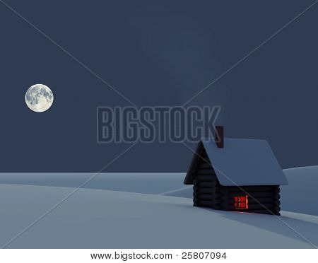 Winter Landscape With A Small House
