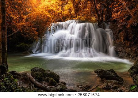 Beautiful Waterfall In The Forest, Huay Mae Khamin Waterfall, Kanchanaburi Province, Thailand, Natur