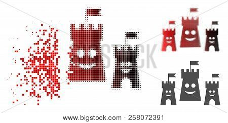 Happy Bulwark Icon In Dispersed, Pixelated Halftone And Undamaged Whole Variants. Pieces Are Grouped