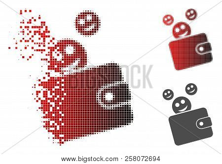 Happy Cash Wallet Icon In Dissolved, Dotted Halftone And Undamaged Solid Variants. Points Are Arrang