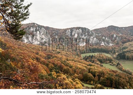 Autumn Colorful Sulovske Skaly Mountains With Rocks And Colorful Forest From Stefanikova Vyhliadka V