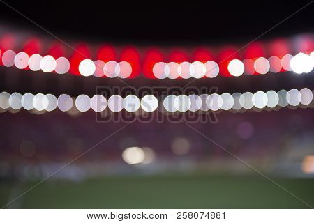 Rio, Brazil - September 12, 2018: View Of Stadium In Blur During Match Between Flamengo And Corinthi