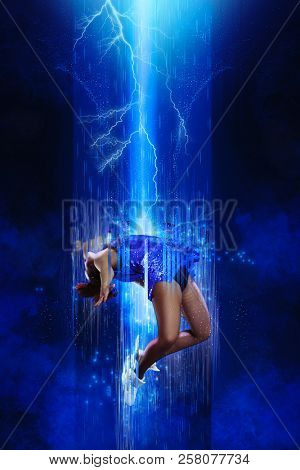 Teleportation to another world or dimension, scientific experiment. Future concept poster