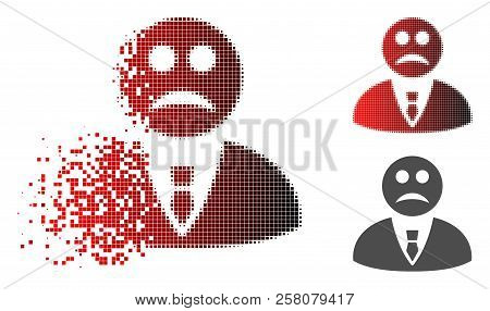 Sad Manager Icon In Dispersed, Pixelated Halftone And Undamaged Entire Variants. Elements Are Organi