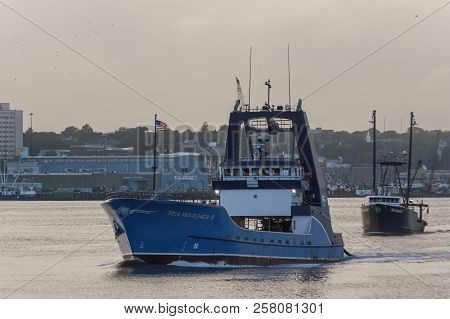 New Bedford, Massachusetts, Usa - September 11, 2018: Commercial Fishing Vessels Sea Watcher Ii And