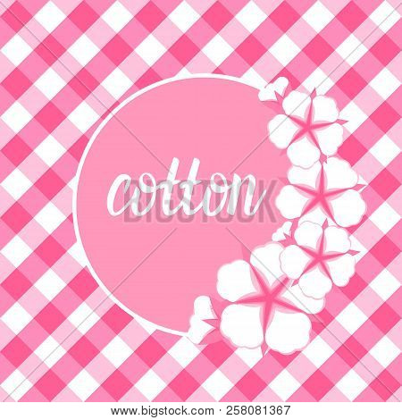 Cotton Flower Frame. Flat Style On Cute Pink Vichy Background. Vector Illustration.