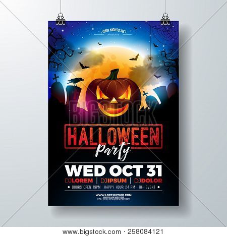 Halloween Party Flyer Vector Illustration With Scary Faced Pumpkin On Mysterious Moon Background. Ho