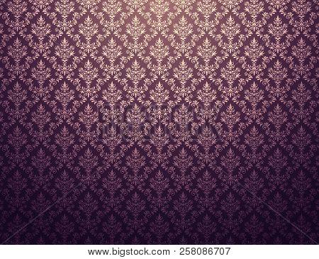 Purple Wallpaper With Gold Damask Pattern