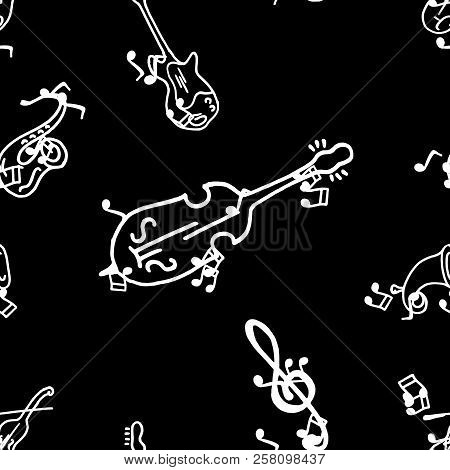 Musical Notes And Musical Instruments Seamless Pattern. Vector Of Musical Instruments Seamless Patte