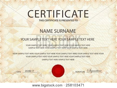 Certificate Template With Guilloche Pattern, Frame Border. Design For Diploma, Certificate Of Apprec