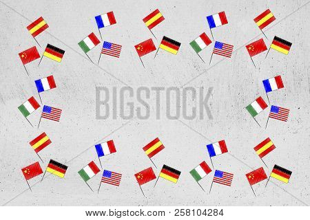Studying Foreign Languages Conceptual Illustration: Mixed Country Flags Border With Copyspace In The