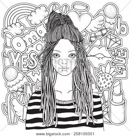 Cool Yong Girl In A Striped Sweater. Coloring Book Page For Adult With Fashion Patch Badges In Carto