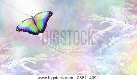 Metaphorical Butterfly Into The Light Departing Soul - A Rainbow Coloured Butterfly Heading Towards
