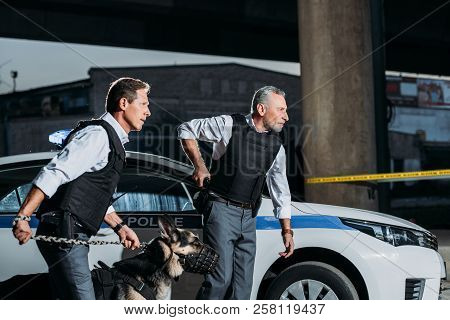 Side View Of Police Officer Taking Off Gun From Holster While His Colleague Running Near With Alsati