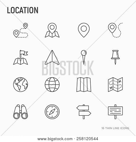 Location Thin Line Icons Set: Pin, Pointer, Direction, Route, Compass, Wall Needle, Cursor, Navigati
