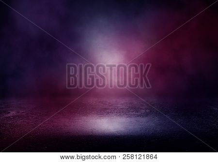 Background Of An Empty Room With Smoke And Neon Light. Dark Purple Abstract Background