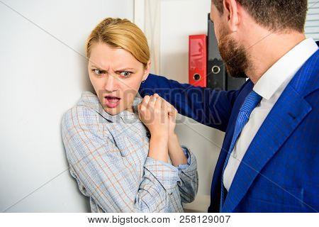 Girl Victim Office Violence Concept. Boss Unacceptable Behavior Subordinate Employee. Prevalence Of