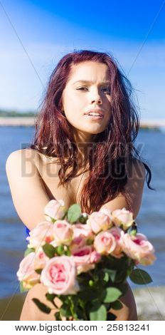 Girl Giving Rose Bouquet