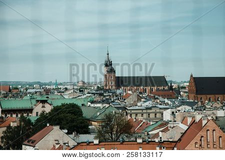 The Old Architecture Of Krakow. Historic Buildings In The Old City Of Europe. Church In Poland. Anci