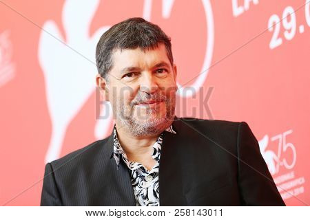 Pierre Schoeller attends 'One Nation One King (Un Peuple Et Son Roi)' photocall during the 75th Venice Film Festival at Sala Casino on September 7, 2018 in Venice, Italy.