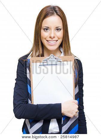 Happy Business Woman Holding Empty Blank Board