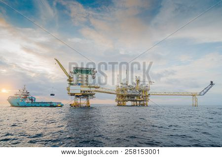 Offshore Oil And Gas Central Processing Platform Where Produce Raw Gas Condensate And Crude Oil For