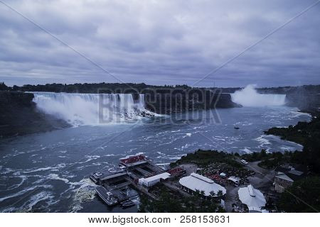 A Panoramic Picture Of The Niagara Falls In Canada