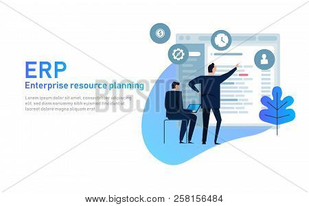 It Manager On Erp Enterprise Resource Planning Screen With Business Intelligence, Production, Hr And