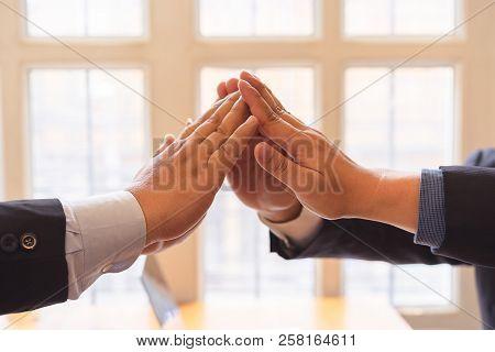 Business Success Teamwork Together High Five On Air.