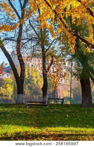 Uzhgorod, Ukraine - Nov 10, 2012: Autumn Park On Pravoslavna Naberezhna In Autumn Foliage.  Ancient