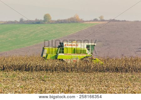 Shyroke, Ukraine - Nov 11, 2015:  Harvester In The Field Removes The Corn Stalks In Late Fall Haze D